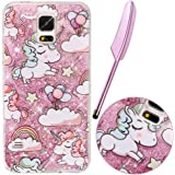 Liquid Case for Samsung Galaxy S5,Violea Bling Case for Galaxy S5,Cute Lovely Cartoon Baby Unicorn Rainbow Star Balloon Pattern Design Creative Funny Liquid Golden Stars Pink Quicksands Bling Glitter Sparkly Transparent Clear Hard Protective Back Case Cover for Samsung Galaxy S5 with Free Stylus