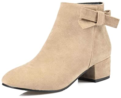 6fc5d19eb4c20 Aisun Women s Sweet Bows Short Boots with Zipper - Trendy Outdoor Square  Toe - Low Chunky