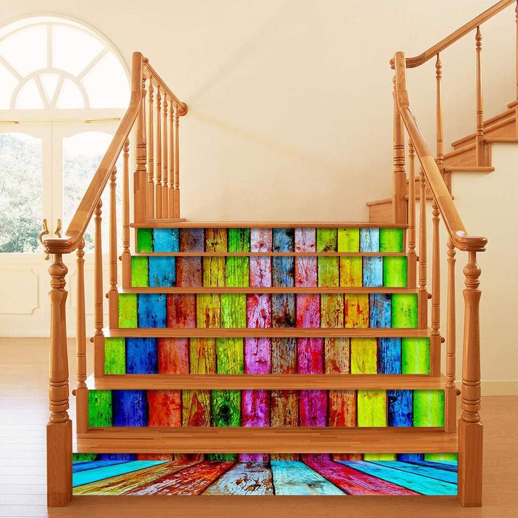 MIKI-Z 6pcs / Set Tablero de Madera de imitación 3D Escalera Escalera Escalera Pegatina autoadhesiva Escalera DIY Escalera Impermeable PVC Tatuajes de Pared Decoración para el hogar: Amazon.es: Hogar