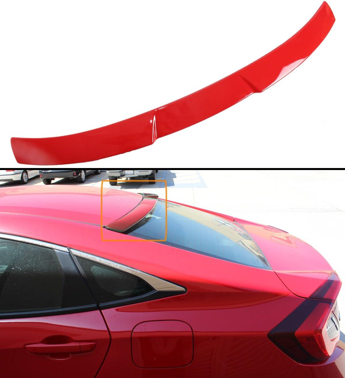 Cuztom Tuning Fits for 2016-2018 10TH Gen Honda Civic X 4 Door Sedan Glossy White Rear Window Roof Spoiler