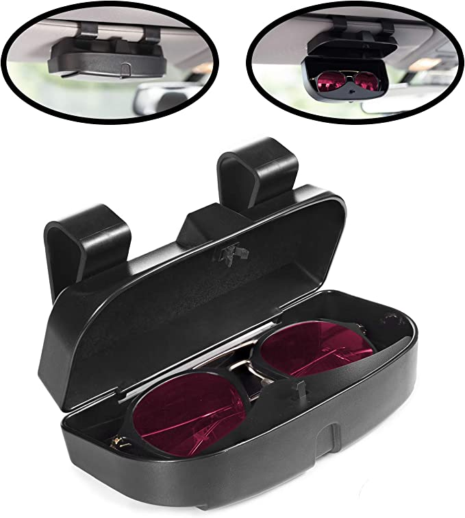 Leegi Sunglassess Holder for Car,1 Piece Black Sunglasses Visor Clip Eye Sunglasses Orgainzer Mount with Ticket Card Clip