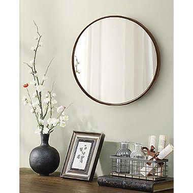 TinyTimes 19.69  Clean Wall Mirror, Round Vanity Mirror, Dresser Mirror, Wooden Frame, for Entryways, Living Rooms, Bathroom, Home Mirrors Decor -Dark Brown