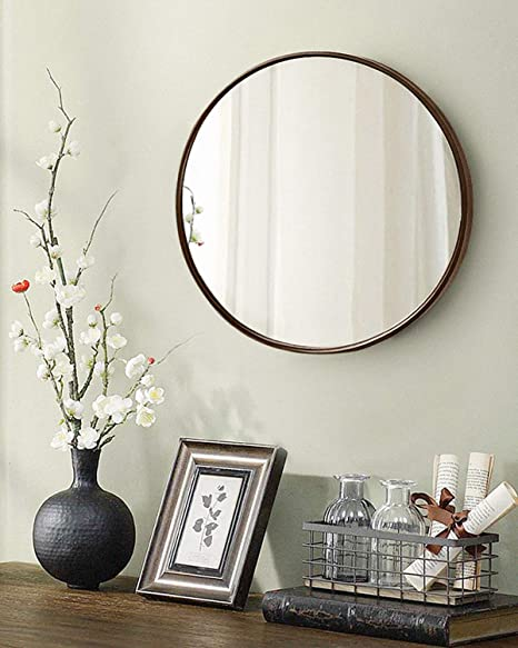 Tinytimes 19 69 Clean Wall Mirror Round Vanity Mirror Dresser Mirror Wooden Frame For Entryways Living Rooms Bathroom Home Mirrors Decor Dark