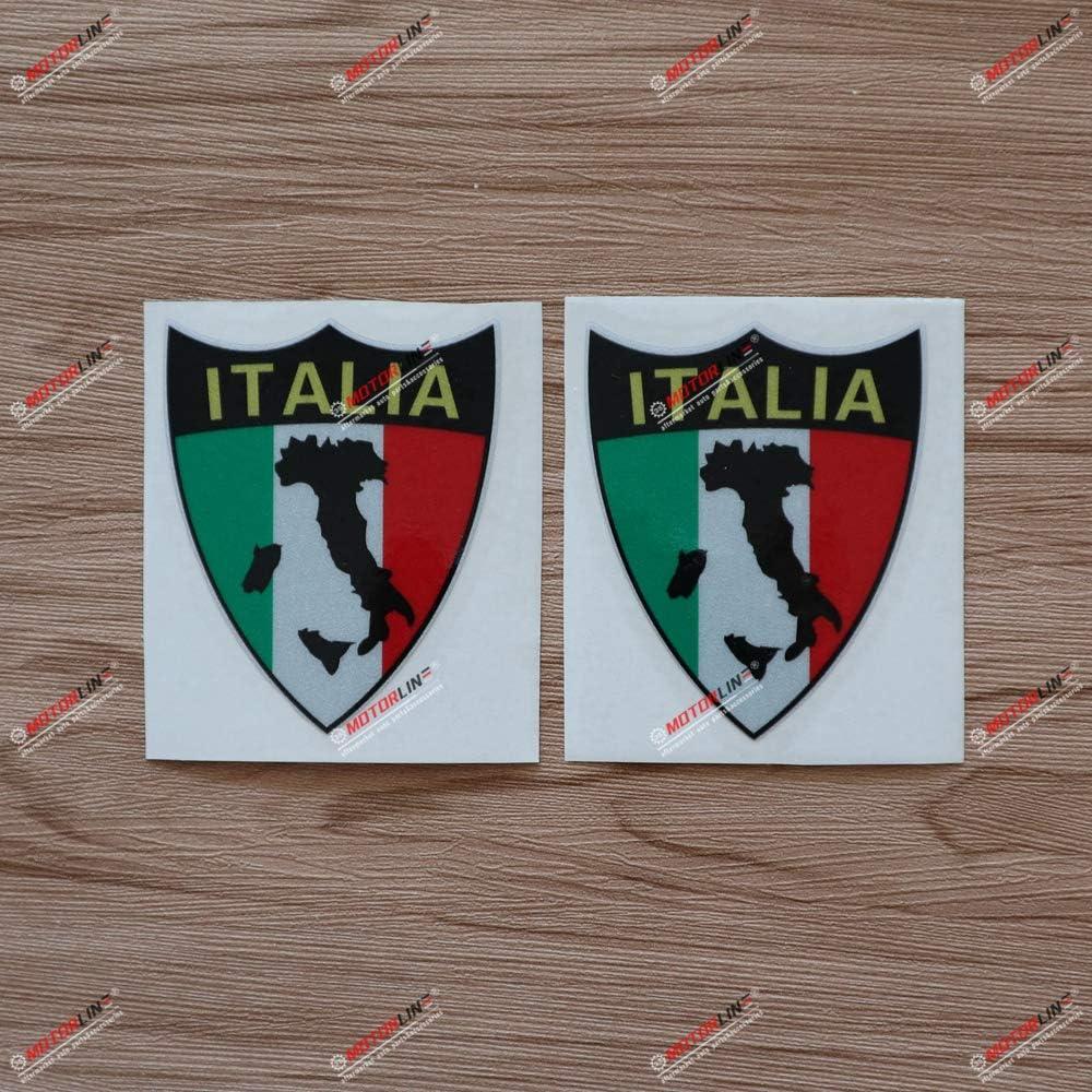 3S MOTORLINE 2X Reflective 3 Italian Map Flag Outline Italy Decal Sticker Car Vinyl Italia Shield