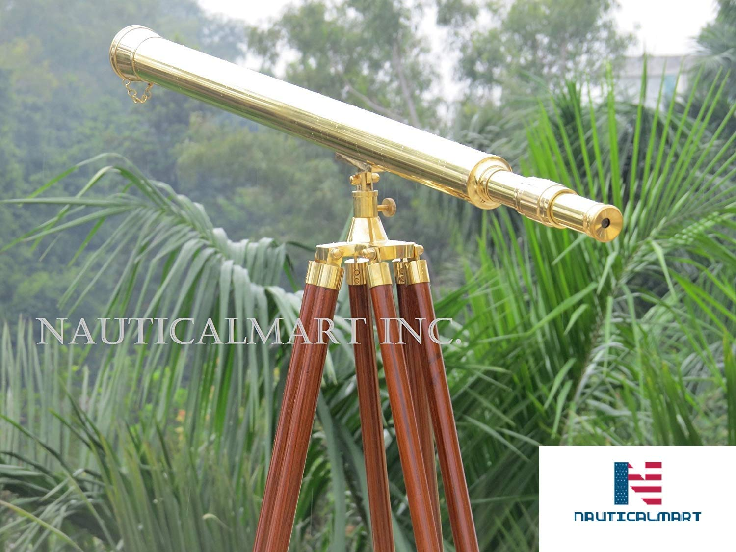40-inch Clear Coated Solid Brass Harbormaster Telescope on a Mahogany Tripod with Standard Mount by NAUTICALMART