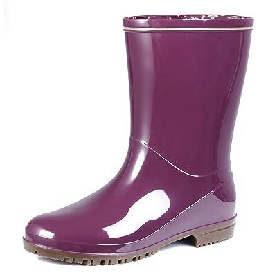 AgeeMi Shoes Femme Bottes Pluie Caoutchouc Bottes Imperméables