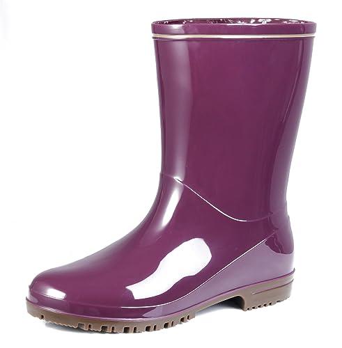 AgeeMi Shoes Mujer Botas Altas Agua Goma Seguridad Antideslizante Unisex Botas,EuY09 Morado 35