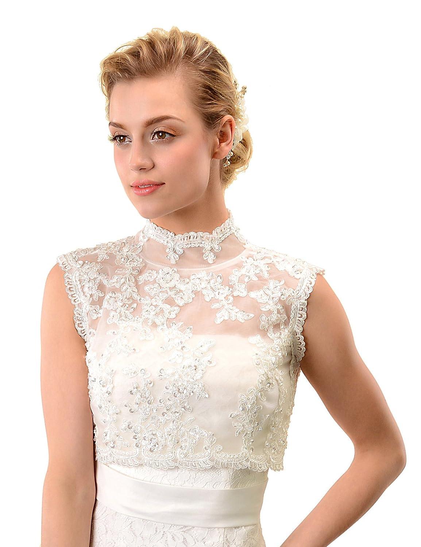 Topwedding Ivory Sleeveless Lace Bridal Dress Bolero Jacket Wedding ...