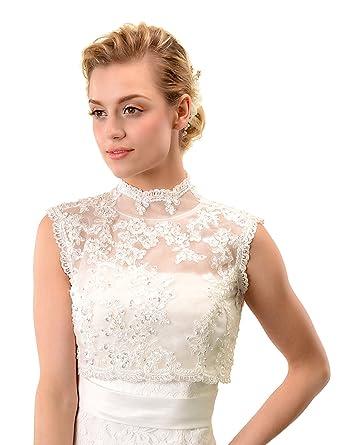 Topwedding Ivory Sleeveless Lace Bridal Dress Bolero Jacket ...
