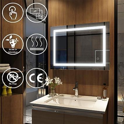 EMKE Wandspiegel Badspiegel LED 60x80 cm, Spiegel mit Beleuchtung  Badezimmerspiegel Lichtspiegel mit Touch-Schalter und Anti-Beschlag  Kaltweiß Modell ...
