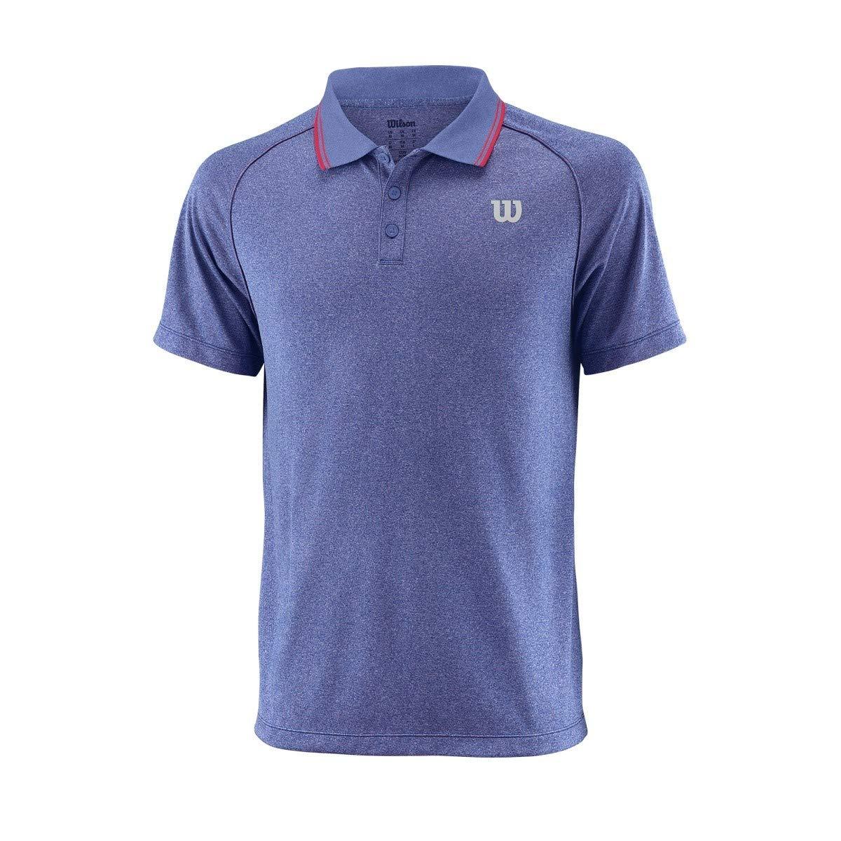 Wilson M Core Polo - Polo, Hombre, Azul(Mazarine Blue./Neon Red ...