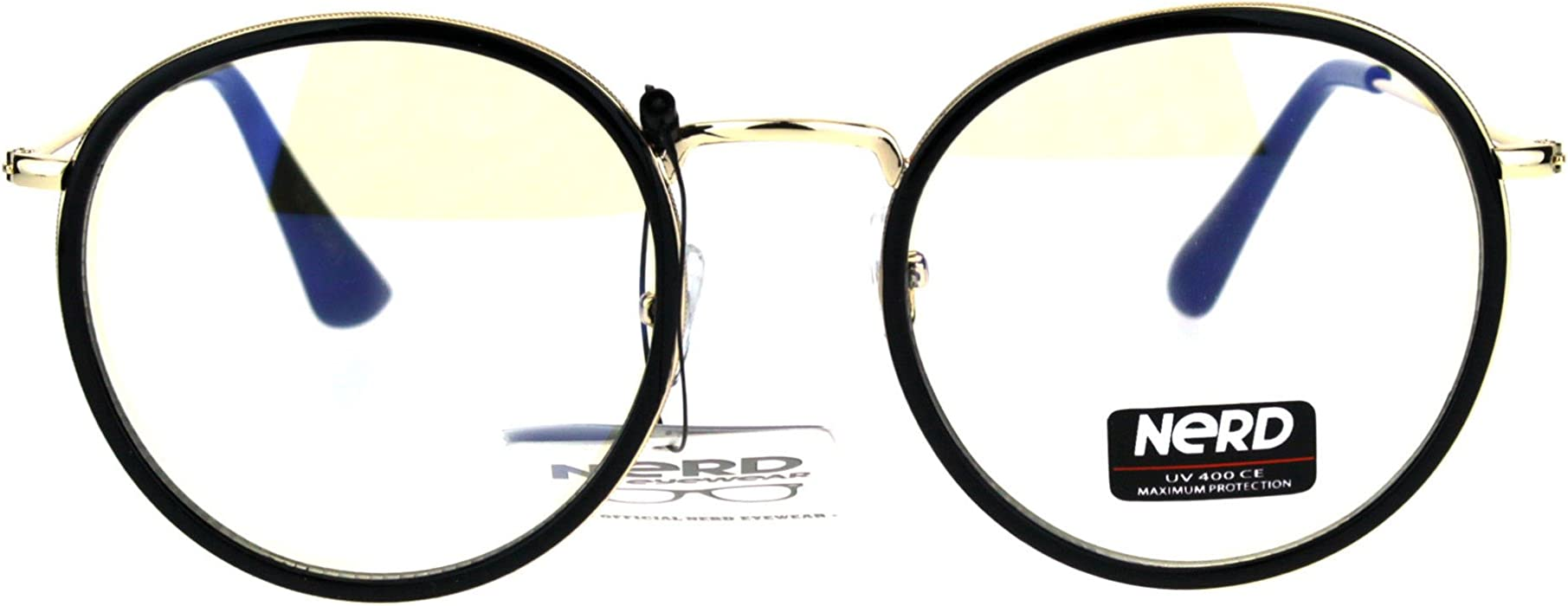 92e535db40 Amazon.com  Fashion Clear Lens Glasses Round Double Frame Eyeglasses ...