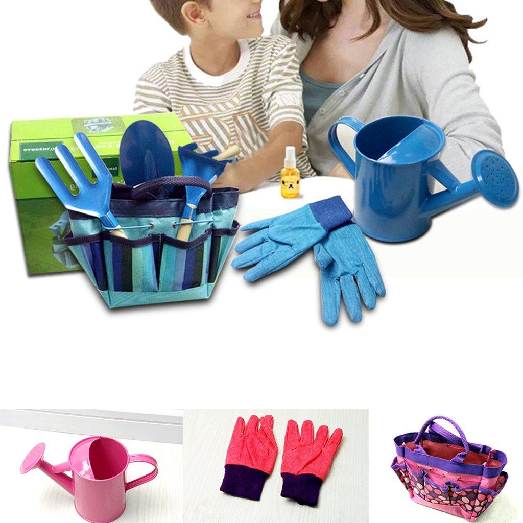 JOYKK Little Gardener Werkzeugset mit Tasche Kinder Kinder Gartenarbeit Jungen M/ädchen Geschenk Spielzeug Blau