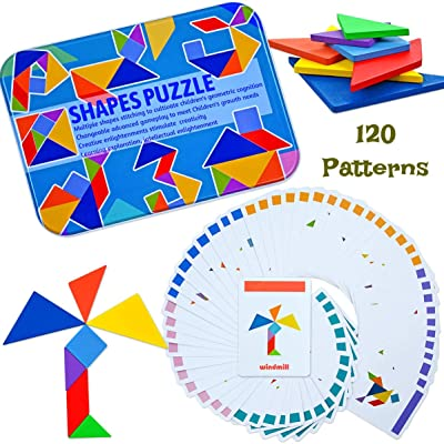 Kids Wooden Travel Tangram Puzzle, Montessori Brain Teaser for Kids and Adults, Shape Puzzles 120 Patterns Portable Size in Colourful Box: Toys & Games [5Bkhe1104970]