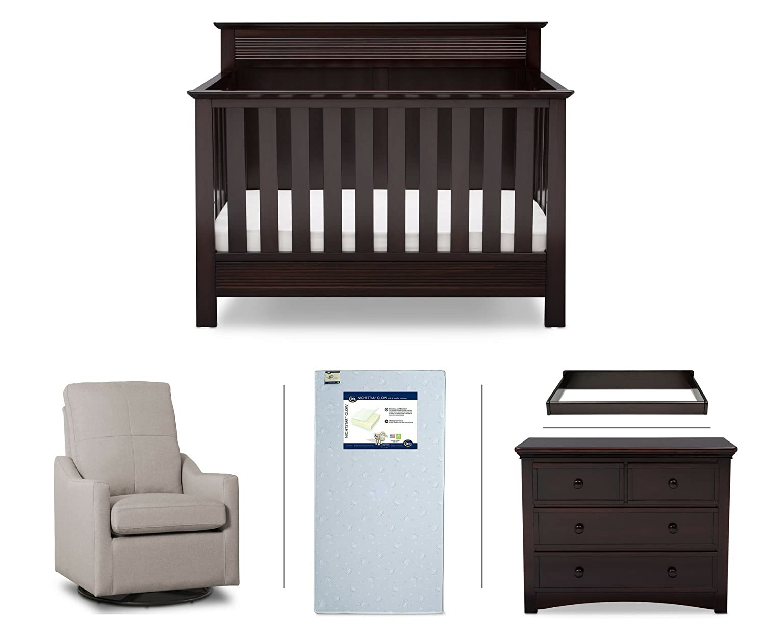 Serta Fall River 5 Piece Nursery Furniture Set (Serta Convertible Crib,  4 Drawer Dresser, Changing Top, Serta Crib Mattress, Glider), Dark  Chocolate/Beige