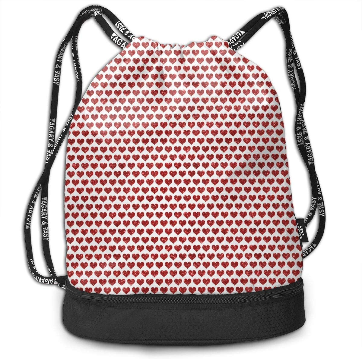 Drawstring Backpack Glitter Hearts Red Rucksack