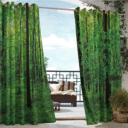 Andrea Sam - Cortinas exteriores/exteriores de la naturaleza, jardín con pared de ladrillo con dos bonitas