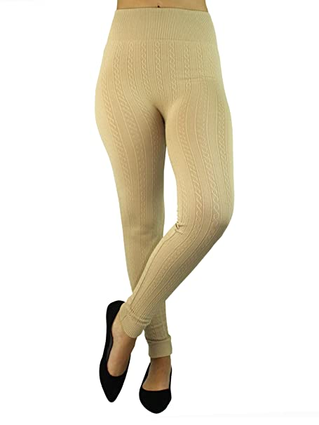 0e12a20b611e4 Beige Fleece Lined Heavy Cable Knit Leggings at Amazon Women's Clothing  store: Beige Knit Leggings Women