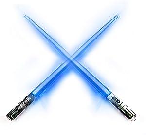 LIGHTSABER CHOPSTICKS STAR WARS LED LIGHT-UP Glowing Light Saber Chop Sticks REUSABLE Sushi Lightup Sabers - LUKE SKYWALKER BLUE - 1 PAIR