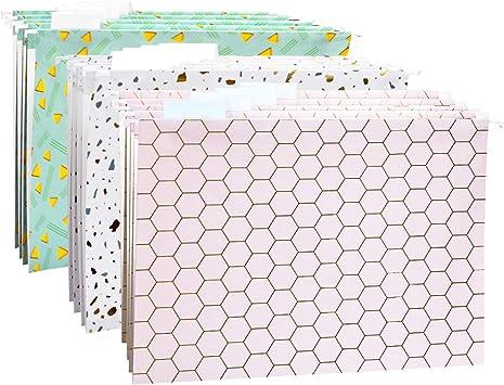 CharaVector Decorative Hanging File Folders- Letter Size-with 5/5-Cut  Adjustable Tabs 5 Colors Modern Flowers 52pcs Set-Assorted Unique Design  Bright