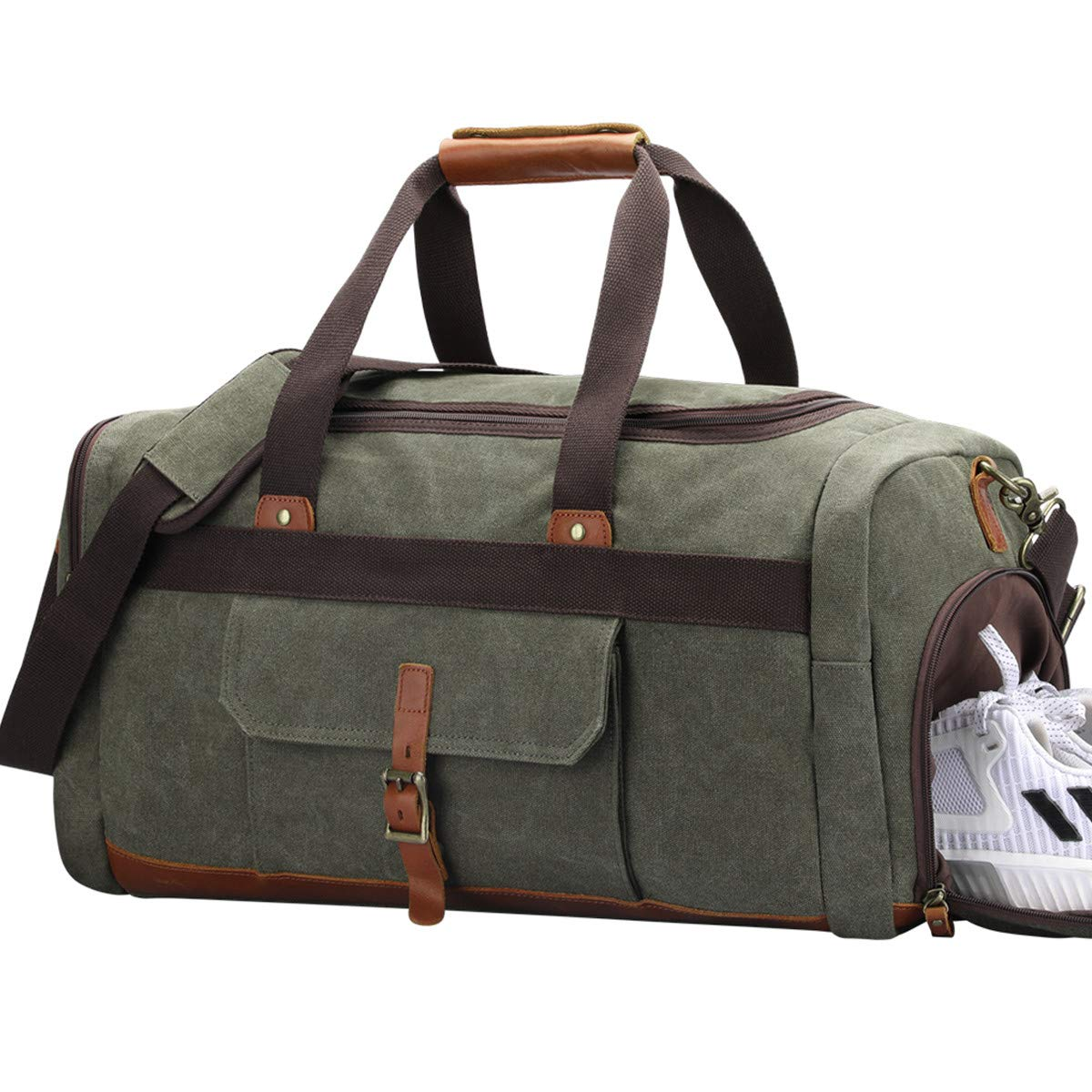 816f08b5cb S-ZONE Vintage Canvas Geniune Leather Trim Travel Tote Duffel Bag with  Shoes Pouch