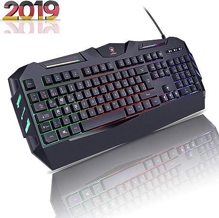Aursen® Wired Iluminado Gaming Keyboard (Teclado Cable Encuadernado, diseño ergonómico, disposición QWERTZ Alemán, USB, Negro)