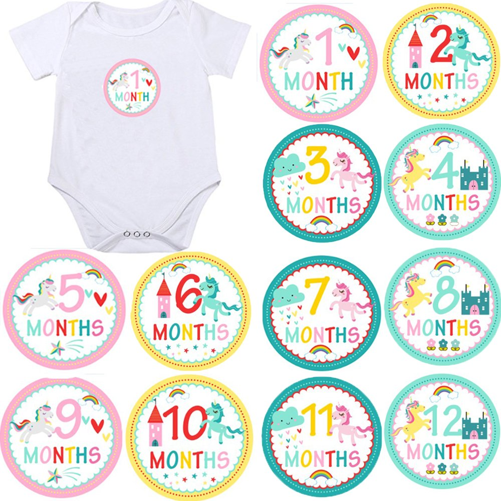 Mermaid Monthly Baby Stickers, Girls Bodysuit Stickers Infant Month Stickers, Great Shower Excellent Baby Photo Props, 12 Pieces (Mermaid)