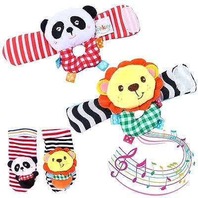Acefun Bébé Infantile Doux Peluche 4 PCS Poignet Animal Hochet et Foot Finder Chaussettes Set Début Jouet Éducatif pour Garçons et Filles (Lion et Panda)