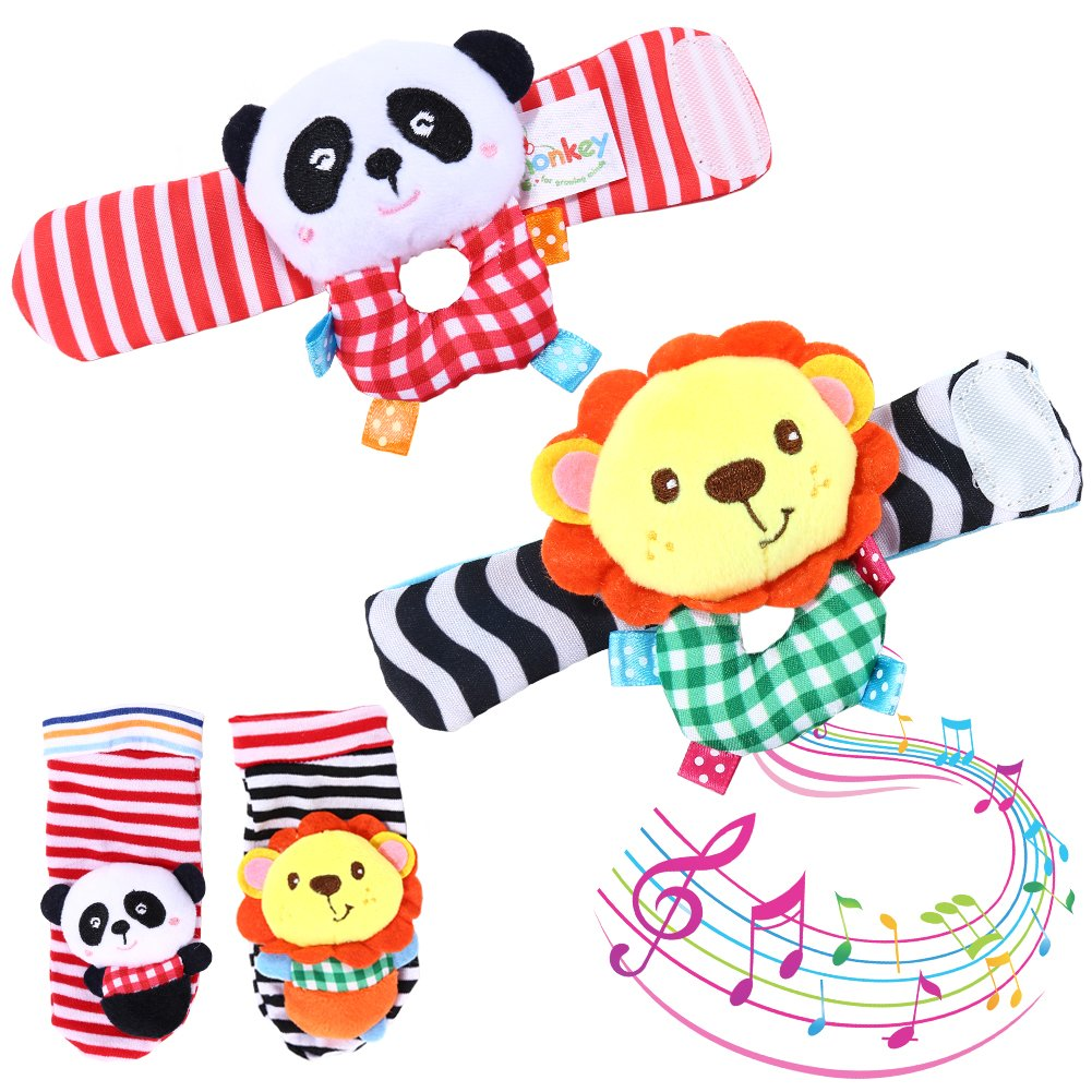 Acekid Baby Toddler Animal Rattle, 4pcs Sock Toys Lion & Panda Hand Wrists Rattle and Foot Finder Socks Set Developmental Soft Plush Toys for Infants (Lion & Panda)