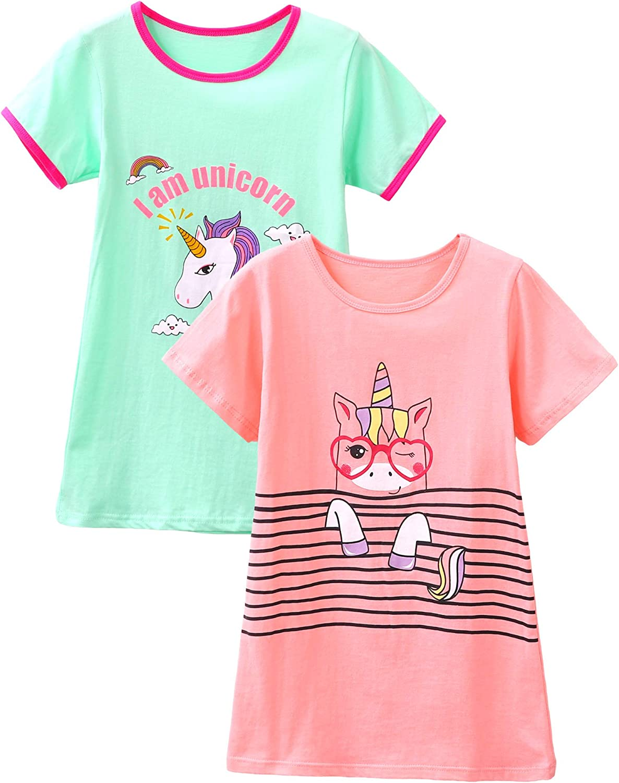 HH Family Nightgowns for Girls Mermaid Unicorn Cotton Pajama Dress Sleepwear 2-Pack