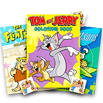 Amazon Cartoon Classics Coloring Books Set The Jetsons Flintstonesand Tom Jerry Plus Specialty Bookplate Stickers Toys Games