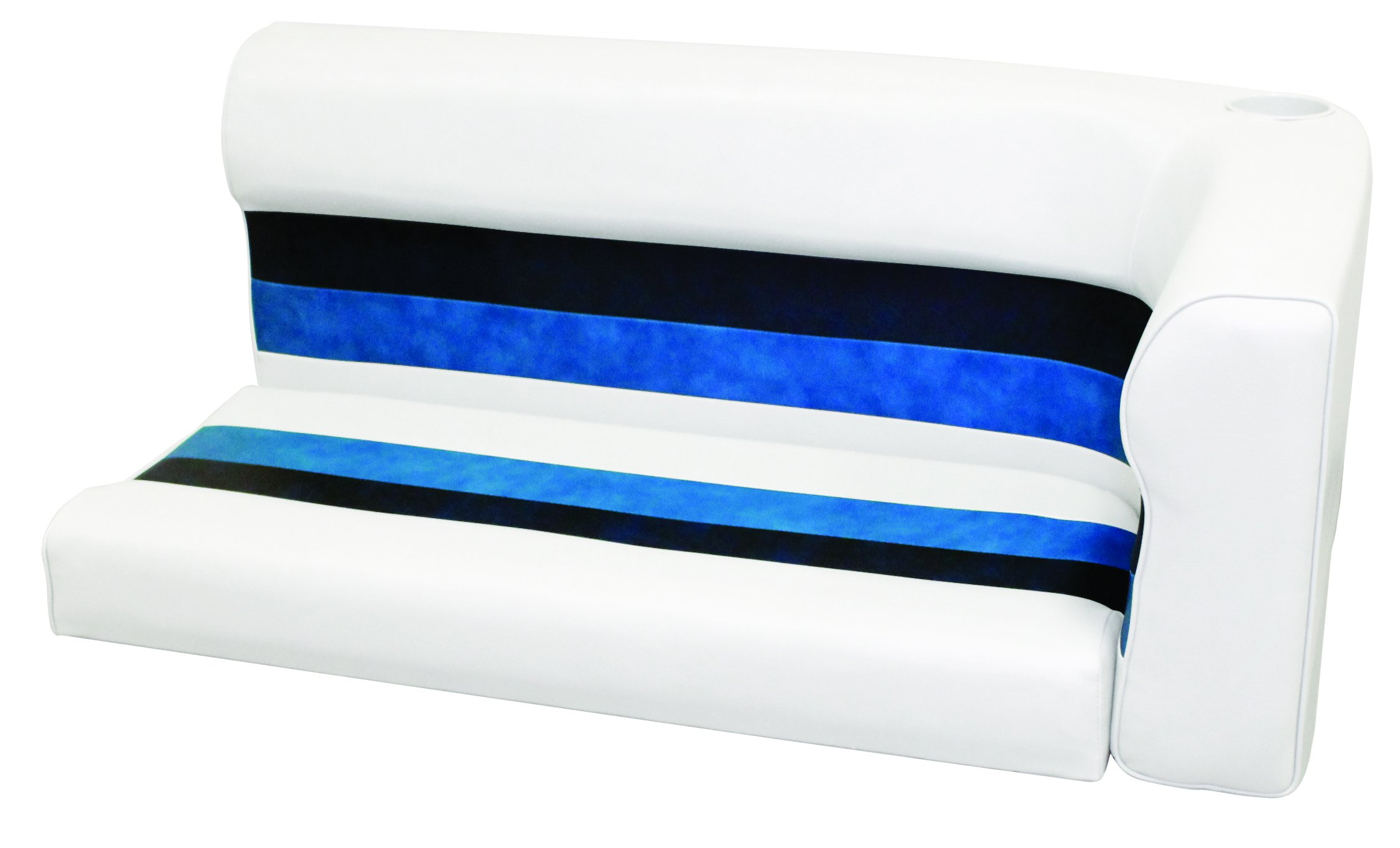 Wise 8WD107-1008 Deluxe Series Pontoon 46'' Left Corner Lounge Cushion Only, White/Navy/Blue by THE WISE COMPANY, INC.
