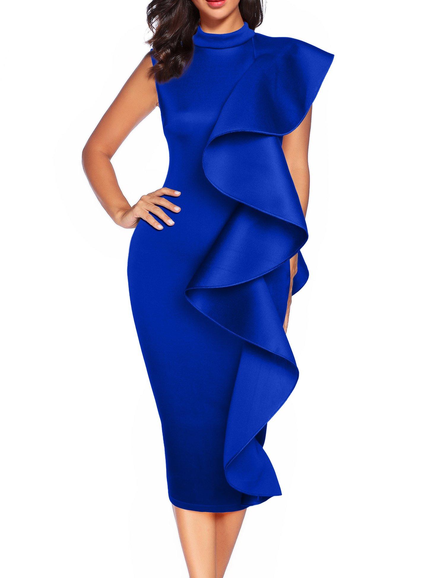 Women's Clubwear Dress Sleeveless Ruffles Bodycon Cocktail Party Dress (XL, Blue)