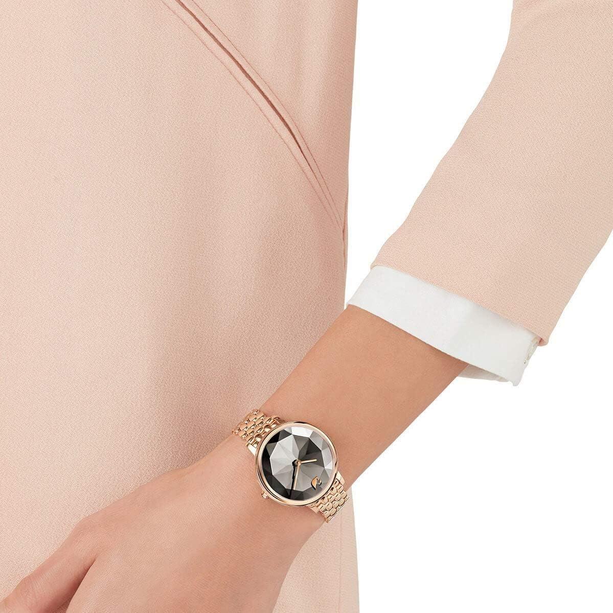 Swarovski Crystal Lake Watch Metal Bracelet Gray Rose Gold Tone