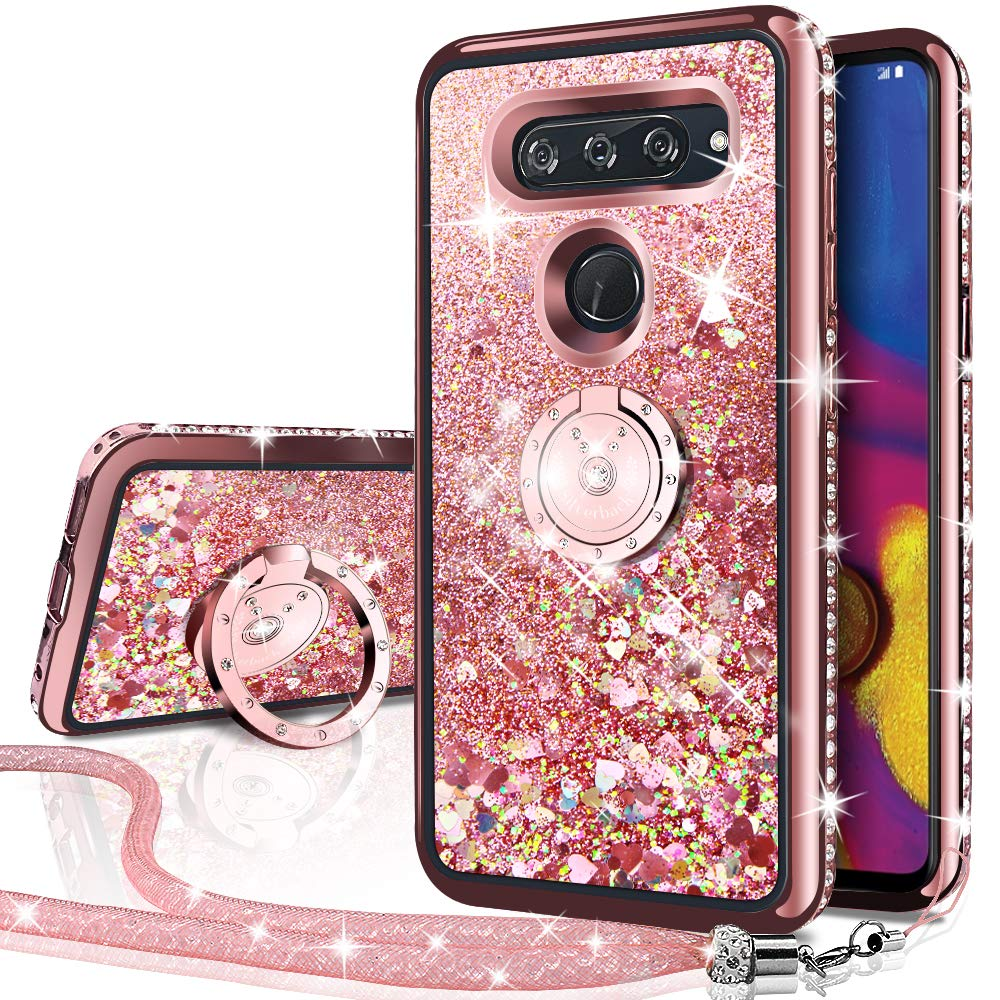 LG V40 Case, LG V40 ThinQ Case, Silverback Moving Liquid Holographic Sparkle Glitter Case with Kickstand, Bling Diamond Rhinestone Bumper with Ring Stand Slim Protective Case for LG V40 ThinQ -RD