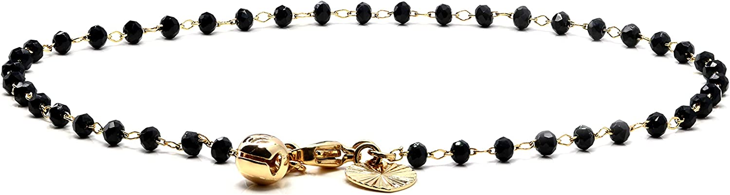 KIAH 18K Plated Gold Anklet Chain Black Cubic Zirconia for Women Girls Fashion Jewelry