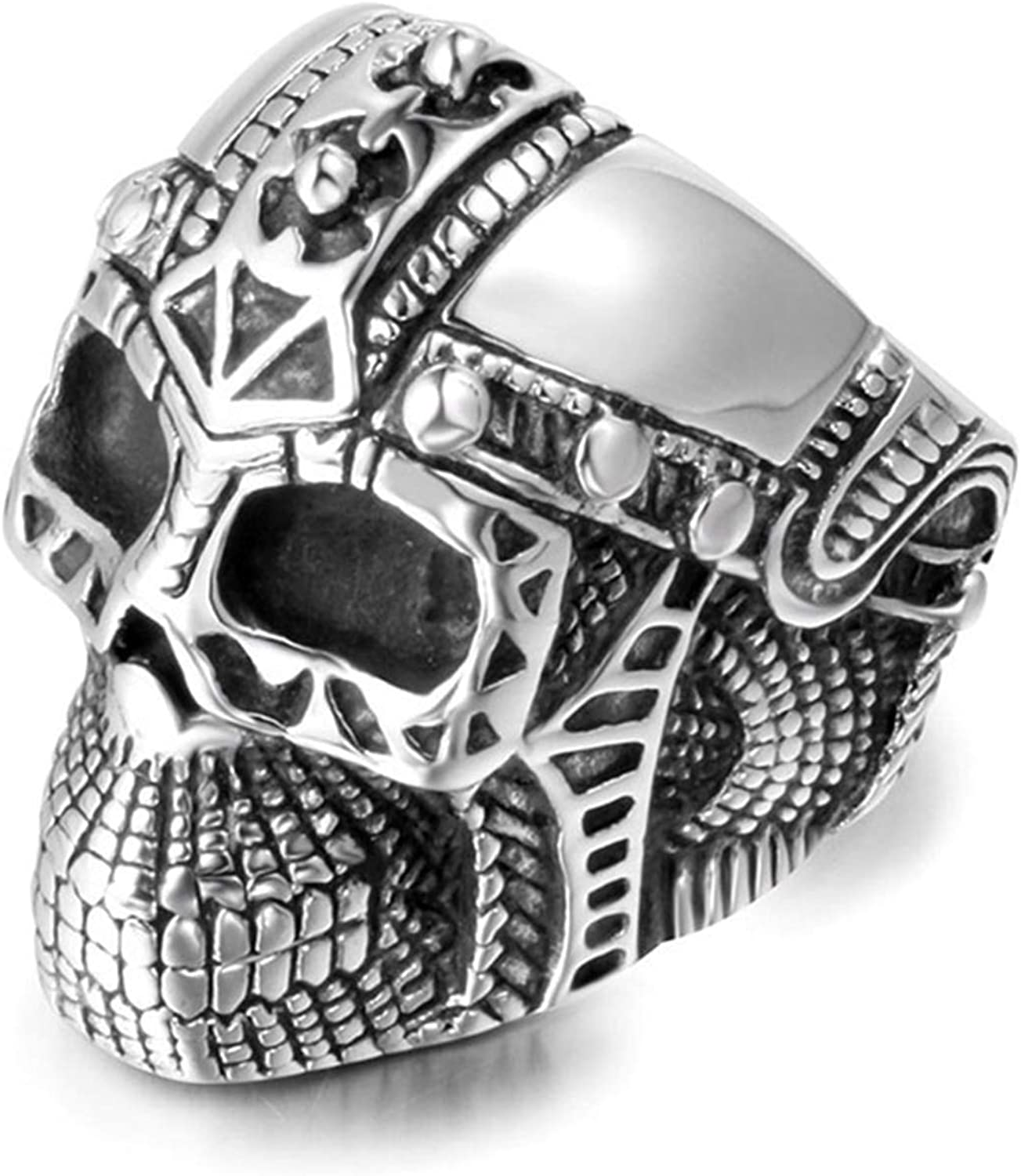 NA Stainless Steel Ring for Women and Men Rings Black Skull Silver Ring Size 7-12
