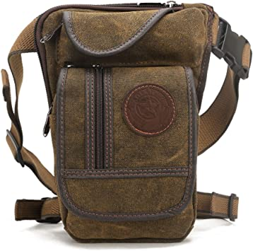 Coffee Mens Canvas Retro Drop Leg Bag Waist Fanny Pack Thigh Hip Bum Belt Military Hiking Motorcycle Cross Body Messenger Shoulder Bag