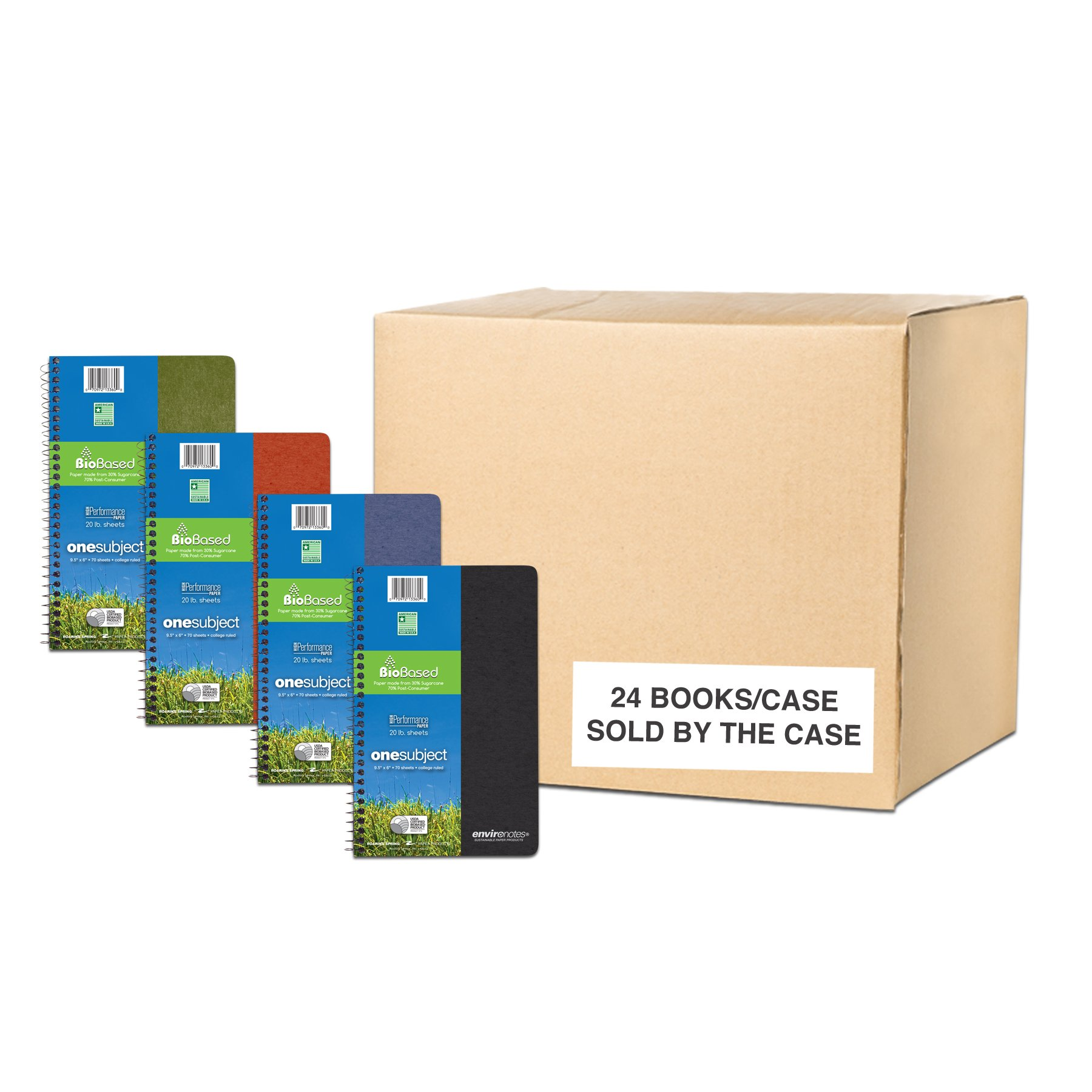 Environotes Case of 24 One Subject Wirebound Notebooks, 9.5''x6'', 80 sheets of 20# BioBase White Paper, Assorted Earthtone covers, College Ruled
