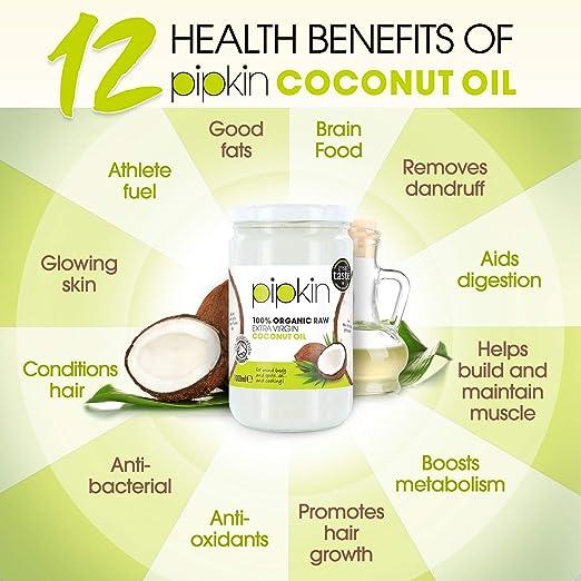 pipkin Aceite de Coco 100% Orgánico, Natural, Virgen Extra Puro. Aceite de coco Multiusos, Prensado en Frío, no GM, Hidratante de Cabello / Piel / ...
