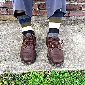 KONY Men's Combed Cotton Dress Crew Socks - Classic Colorful Stripe Patterned Business Socks (Metro Stripe - 4 Pairs)