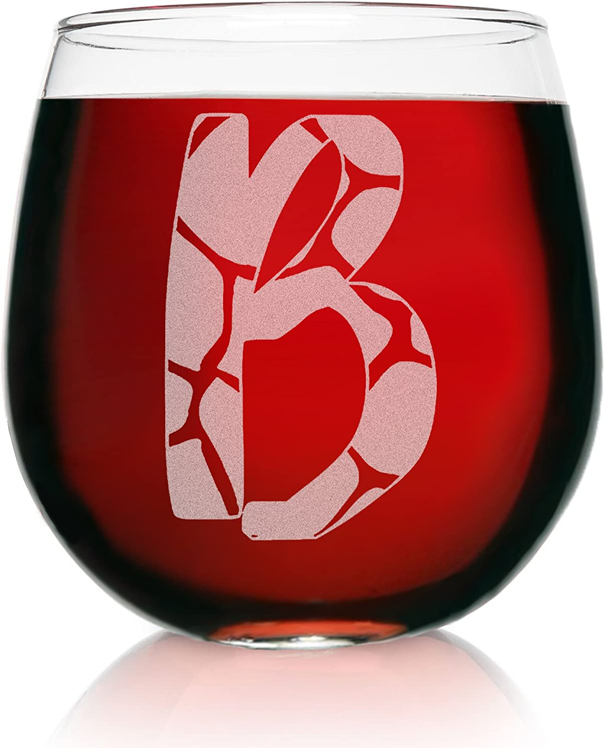 """New Etched Large Wine Glass Free Gift Box /""""GIRAFFE/"""" Design es"""