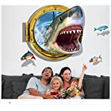 Wall Decals Stickers, Kredy 3D Three-Dimensional Shark Home Kids' Room Wall Décor Creative Removable DIY Wall Decal Sticker for Kids Boys Girls Bedroom Living Room Showcase