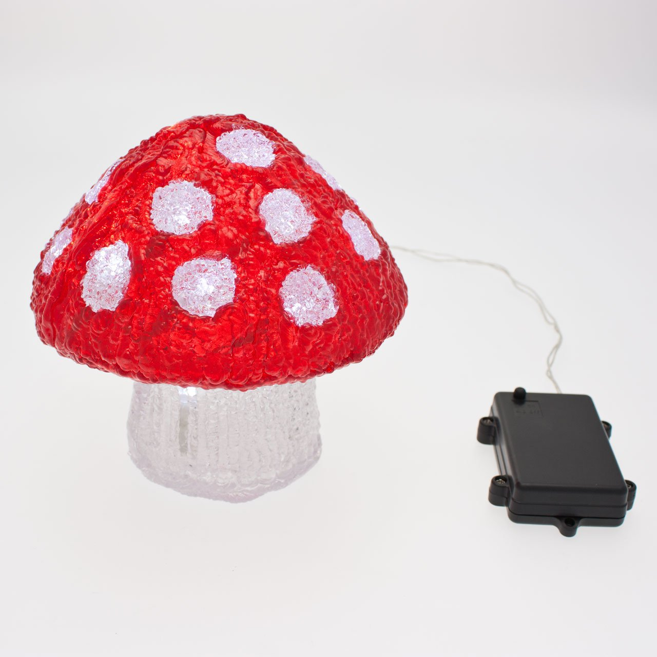 Seta 3D a pilas, 15 cm, 20 LED luz fría, uso exterior, temporizador 6/18, objetos luminosos 3D, decoración de Navidad Luminalpark
