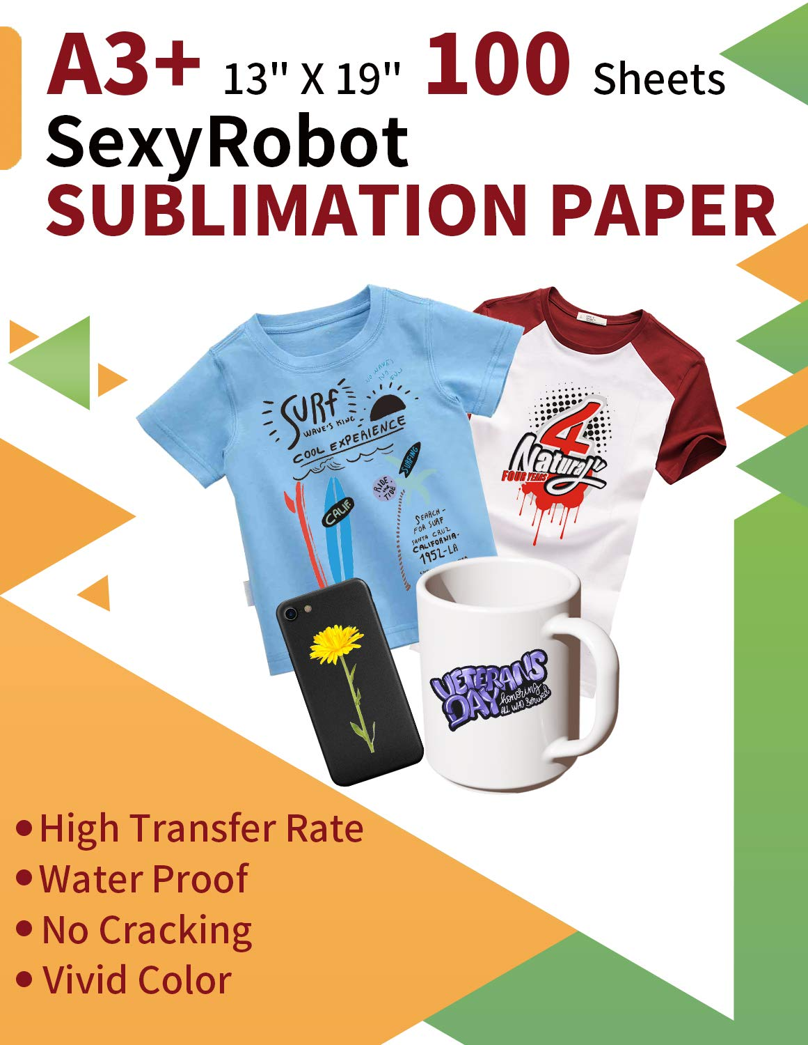 SexyRobot Sublimation Transfer Paper A3+ size 13x19'' 100 sheets for light color T-shirt, Mug, vinyl material, for All Inkjet Printer Only go with Sublimation Ink