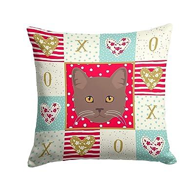 Caroline's Treasures CK5178PW1414 York Chocolate Cat Love Fabric Decorative Pillow, 14Hx14W, Multicolor : Garden & Outdoor