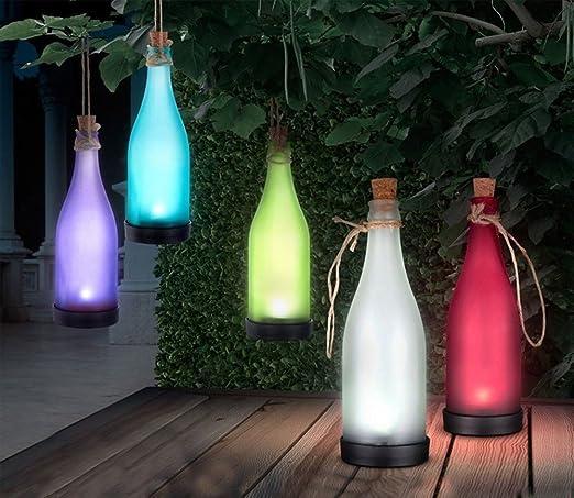 Bshine - Botellas decorativas para iluminación ambiente, para terraza o jardín (5 colores)