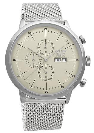Davis 1950MB - Reloj para hombre, retro clásico-cronógrafo, sumergible hasta 50 metros, día y fecha, correa mesh: Amazon.es: Relojes