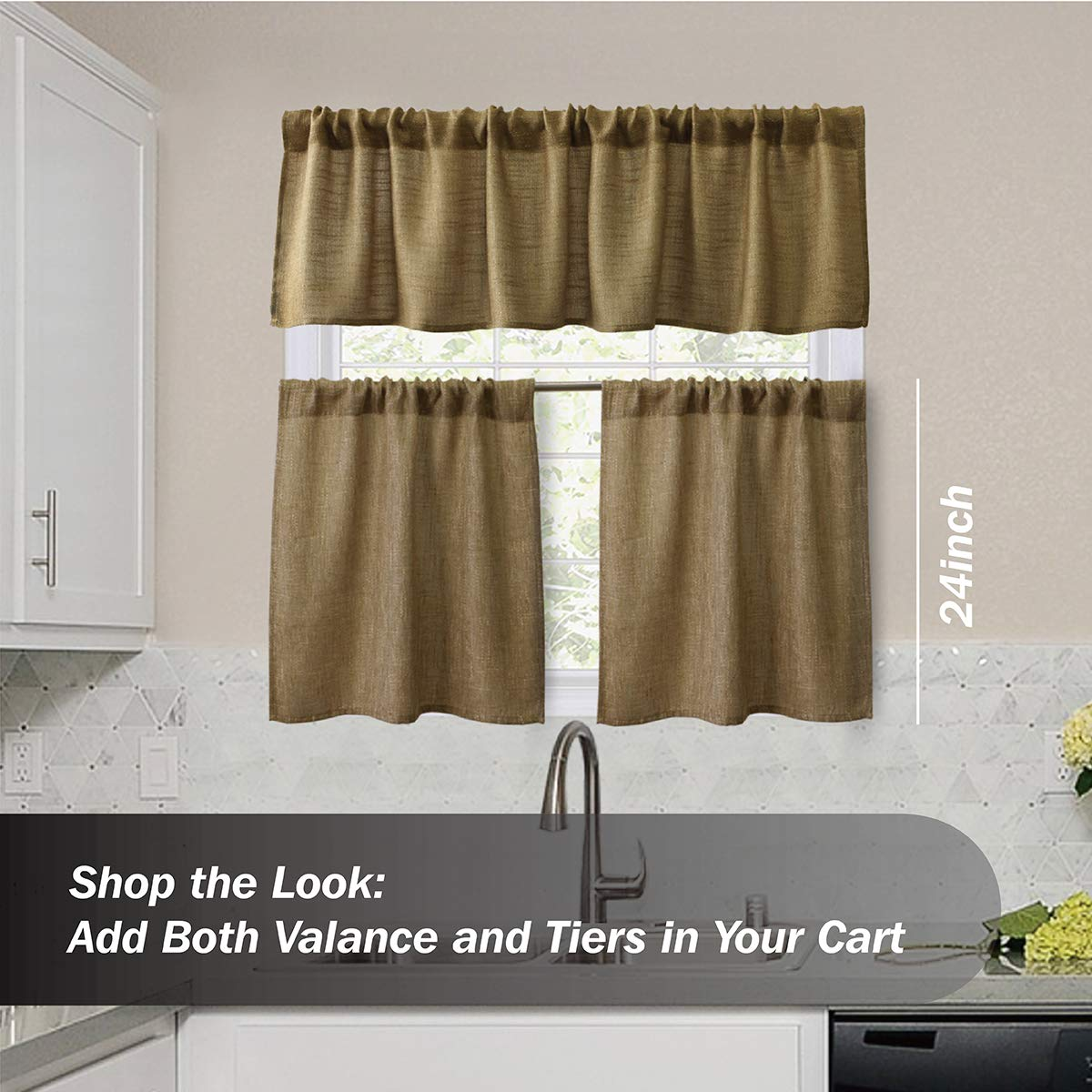 Set of 2 Valea Home Burlap Tier Curtains for Kitchen Rustic Tan Rod Pocket Curtains for Short Window 24 inch Linen Cafe Curtains