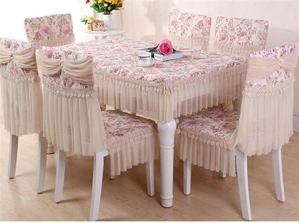 WSHWJ Mesa rústica de comedor tapizado de tela cubre para posterior ...